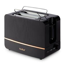 VonShef Toaster 2 Slice Black Copper Browning Control Crumb Tray Defrost Reheat