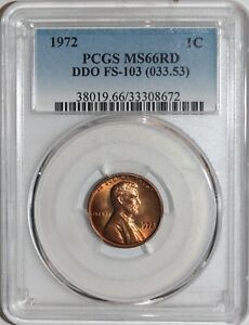 1972 DDO Lincoln Cent PCGS MS66RD
