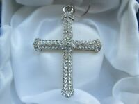 Silver Tone Metal Sparkly Clear Glass Christian Religious Cross Pendant Necklace