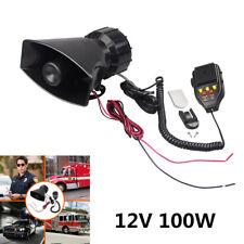 12V 100W 3-Tone Car Siren Horn Speaker & Mic PA Speaker System w/ Volume Control