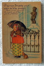 POSTCARD COMIC BOY STATUE PEEING WATER ON  WOMAN WITH UMBRELLA DOG #399j