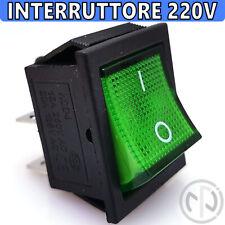 INTERRUTTORE 220V Bipolare DA PANNELLO TASTO LUMINOSO VERDE a bilanciere 32X25