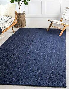 5x8 feet square hand woven braided jute home decor rug navy blue color jute rugs