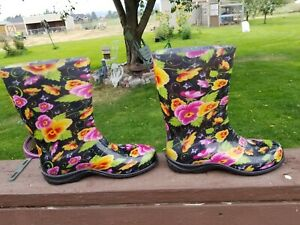 Sloggers Women's Black Pansy Flower Print, Rubber Boots (9)