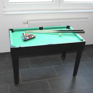 Kinder Billardtisch 104 cm x 58 cm Pool Billard komplett Set Mini Midi Schwarz +