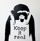 Banksy Inspired Spray Paint On Stretched Canvas 18x18x1- 3/8 Keep it Real