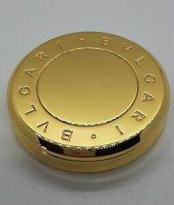Vintage Bvlgari Perfume Compact Powder in Original Yellow Leather Pouch