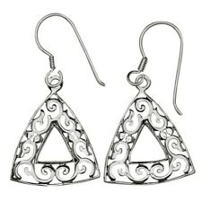 Sterling Silver Hook Dangle Earrings Celtic Design Brass Plated with