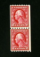 US Stamps # 411 F-VF Vertical Pair OG NH Catalog Value $55.00