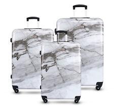 3pc Luggage Suitcase Trolley Set TSA Travel Hard Case Lightweight White Marble