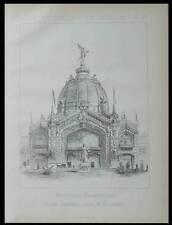 EXPOSITION UNIVERSELLE 1889, DOME CENTRAL -PLANCHE ARCHITECTURE - JOSEPH BOUVARD
