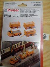 H0 Preiser 17120 Electric Cart with 3 Trailers dt. bundesbahn. Kit NIP