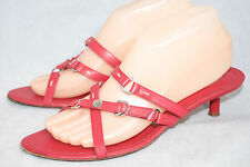 TOD'S Wo's 9 Red Leather Kitten Heel Criss Cross Strappy Sandals