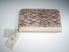 ADRIENNE VITTADINI-Zip Around Passbook Travel Document Passport Wallet-Beige-NEW