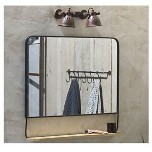 Harini Landscape Antique Black Mirror With Mangoo Wood Shelf by Nkuku
