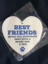 Best Friends Never Fail Hanging Heart Sign - Wooden Shabby Chic Plaque 12cm