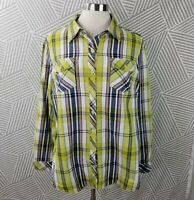 CJ Banks Plus Size 1X Shirt Plaid Button Down Lightweight Yellow Blue pockets
