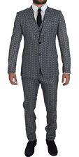 NWT $3200 DOLCE & GABBANA Blue Wool Owl Print Slim Fit 3 Piece Suit EU44/US34/XS