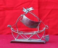 ANTIQUE HAND CRAFTED METAL TOY SAILBOAT WITH SILVER POLISH