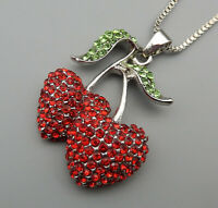 Red Green Crystal Cute Cherry Pendant Betsey Johnson Sweater Necklace