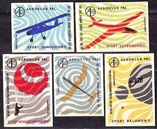 POLAND 1968 Matchbox Label - Cat.Z#860/64 set, Aeroclub PRL - air sports.
