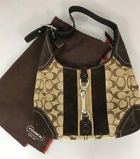 Coach 8K10 Brown Signature Fabric Suede Hobo Shoulder Bag Handbag w Dust Bag