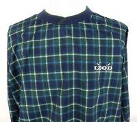 Vtg IZOD Golf Large Pullover Windbreaker Jacket Tartan Plaid Green Blue Nylon