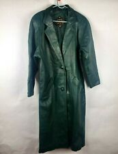 Charles Klein Womens Coat Sz S Sm 100% Leather Green Trench Long Double Breasted