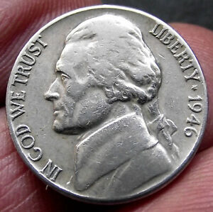 1946 Five Cents 5c. Jefferson Nickel Coin - US America - USA