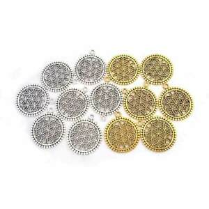 10Pcs Antique Silver/Gold Tone Flower of Life Circle Charms Pendants Beads 25mm