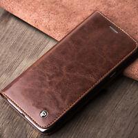 Für Samsung Galaxy S7 Handy Leder Braune Schwarze Tasche Hüle Smartphone + Folie