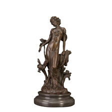 Bronze Girl With Flower Sculpture Table and Home Decor Art Best Quality Statue
