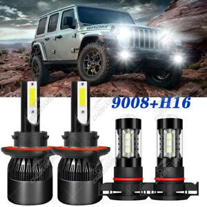 For 2018 2019 Jeep Wrangler JL - 4PC 6000K LED Headlights & Fog Light Bulbs Kit