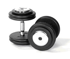 2 x 25KG Commercial Gym Dumbbells, Fixed Weight, Pro Discs, Chrome Bar & Ends