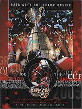 2005 CFL Grey Cup Program Montreal vs Edmonton ESKS WIN OT