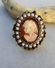 Victorian Cameo anello filigrana placcata oro vero cammeo e perle