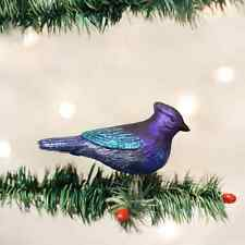 Mountain Blue Jay Bird Glass Ornament Old World Christmas  New in Box