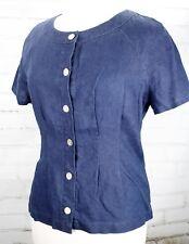 ORVIS Button Down Shirt 100% Linen Short Sleeve Women's M (10 / 12) Blue Denim