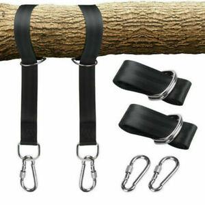 Outdoor Swing Hammock Tree Hanging Chair Strap Hook Carabiner Garden Fitting Kit