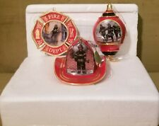 The Bradford Exchange Courage Under Fire - Set Of 3 Fireman Ornaments #89037 Coa