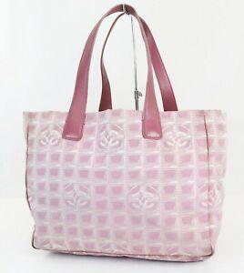 Authentic CHANEL New Travel Line Pink Tote Handbag Purse #38912