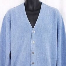 Baracuta Van Heusen Mens Cardigan Sweater Vtg 80s Made In USA Blue Size Large