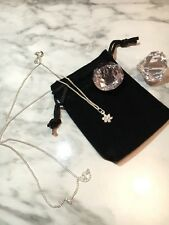 925 Sterling Silver Dainty Flower Cubic Zirconia Pendant Necklace With GiftPouch