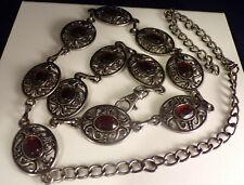 "Vintage Silvertone Faux Amber Rhinestone Stone Oval Chain Belt 29"" to 42"""