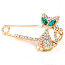 Scarf Suit Coat Shirt Cat Safety Pins Wedding Gold / Silver Diamante Pin Brooch