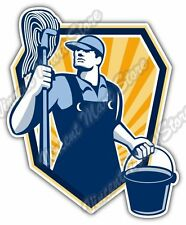 "Janitor Cleaner Worker Mop Water Bucket Car Bumper Vinyl Sticker Decal 4""X5"""