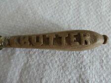 More details for vintage carved wood handle treen butter knife spreader vintage / antique kitchen