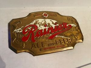 Vintage 1940-50s Enameled Rainier ale and beer sign n.o.s. bastian bros n.y.