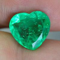 4.50Carat100% Natural Heart Shape Green Color Certified Colombian Emerald