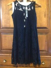 NEW! Ya Los Angeles Dress, Women's L Large, Black Lace, knee-length, sleeveless